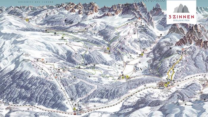 3 Zinnen Dolomites Skimap 700